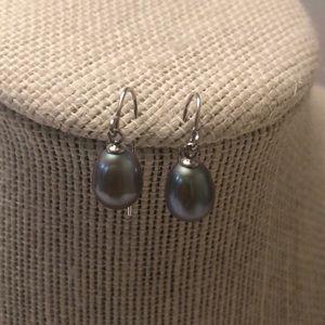 Vintage blue pearl sterling 925 earrings